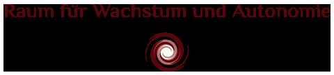 Bild und Textlogo der Praxis Raum für Wachstum und Autonomie in rot
